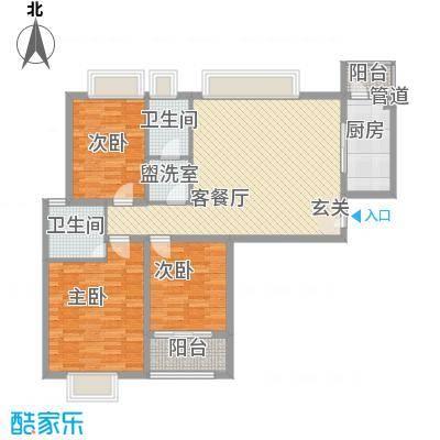 风景翰苑124.00㎡2#6#小高层标准层B1户型3室2厅2卫