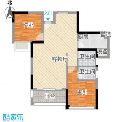 绿苑新城85.50㎡1、7#楼F1户型2室2厅2卫1厨