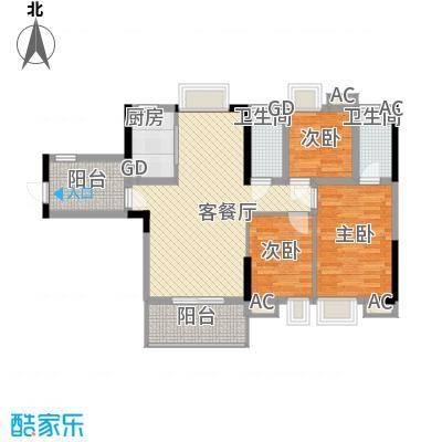 海逸・锦绣公馆111.81㎡2栋02户型3室2厅2卫1厨