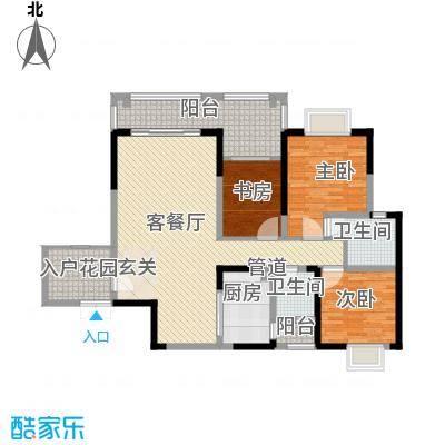 长欣中央广场12.28㎡D3-1户型3室2厅2卫1厨