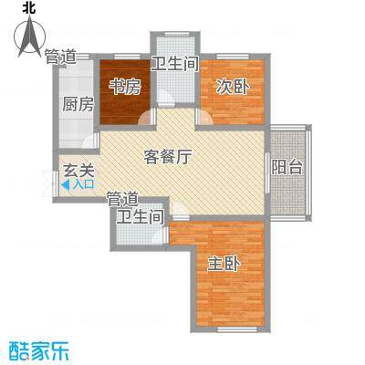 楚河花园124.00㎡边户二户型3室2厅1卫1厨