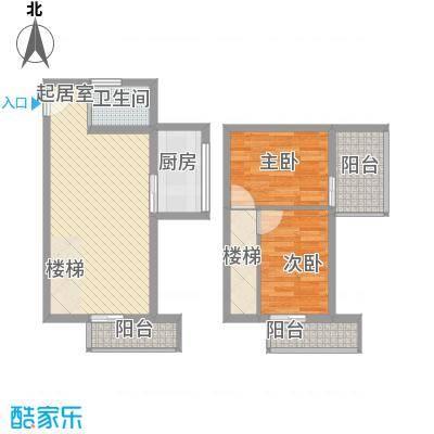 华鑫现代城85.23㎡萃庭03户型2室2厅1卫1厨