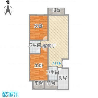 天水丽城二期11.30㎡标准层A户型2室2厅2卫1厨