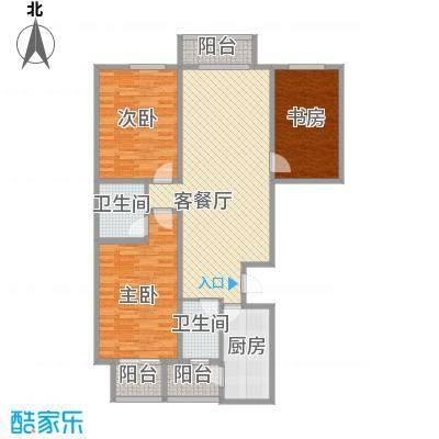 天水丽城二期135.48㎡标准层B2户型3室2厅2卫1厨