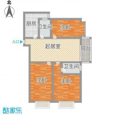 迎西城・龙湾佳园122.50㎡E户型3室2厅2卫1厨