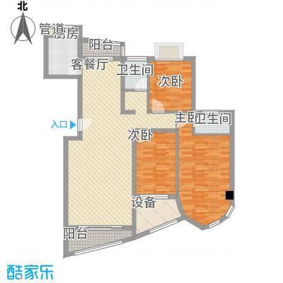 绿苑新城133.84㎡12#楼05单元户型3室2厅2卫1厨