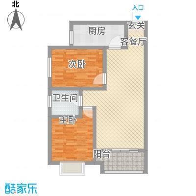 阅澜水岸3.52㎡B户型2室2厅1卫1厨