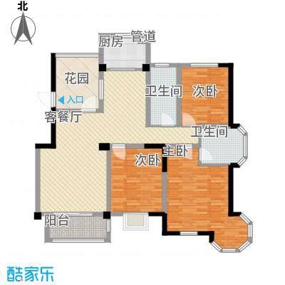 万福・君临天下13.42㎡E1户型3室2厅2卫1厨