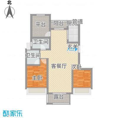 国基城邦114.00㎡25#楼3-17奇数层2户型2室2厅2卫1厨