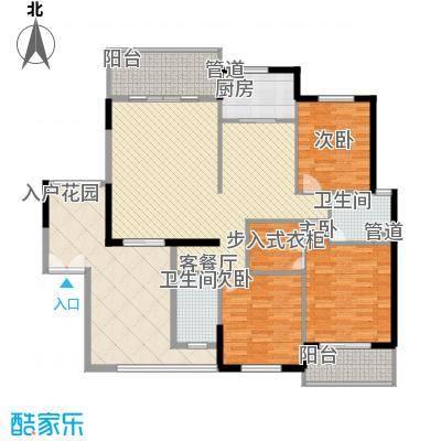 水晶森林165.40㎡晶尚名苑F户型3室2厅2卫1厨
