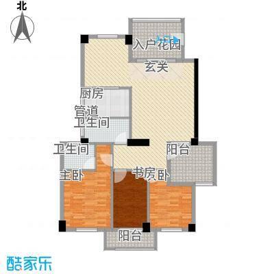 水晶森林136.73㎡晶尚名苑C2户型3室2厅3卫1厨
