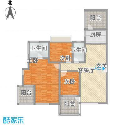 海峡国际社区154.00㎡5、6、7号楼标准层02户型4室2厅2卫1厨