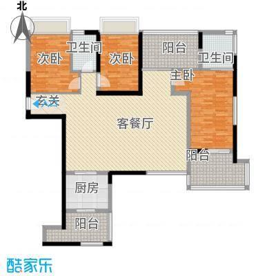 海峡国际社区161.00㎡5、6、7号楼标准层04户型3室2厅2卫1厨