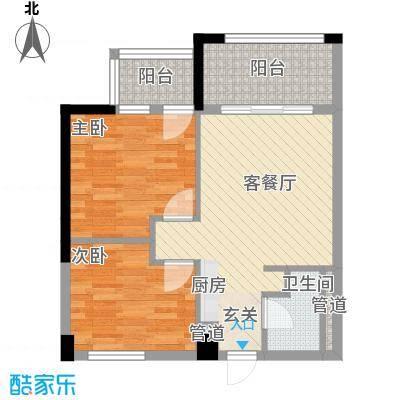 富盈广场7.66㎡公寓标准层香奈儿户型2室1厅1卫1厨