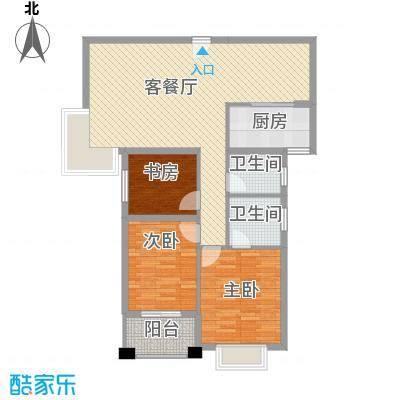 未来海岸蓝月湾114.76㎡J户型3室2厅2卫1厨