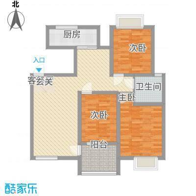天惠景庭113.44㎡I户型3室2厅1卫1厨