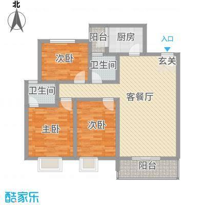 富瑞明珠18.00㎡G型户型3室2厅2卫1厨