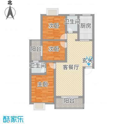 富瑞明珠13.00㎡E型户型3室2厅2卫1厨