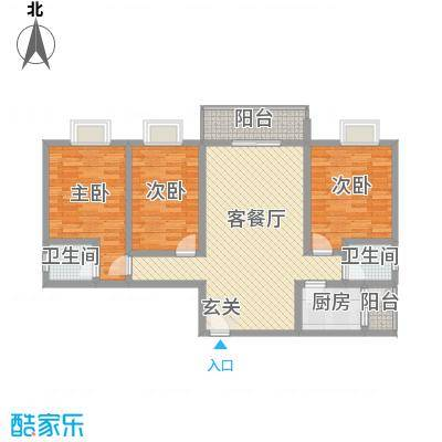 富瑞明珠118.00㎡J型户型3室2厅2卫1厨