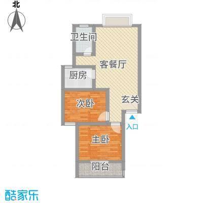 富瑞明珠76.00㎡F型户型2室2厅1卫1厨