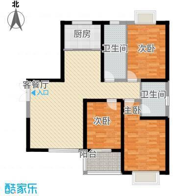 屹立温泉花园133.68㎡标准层B1户型3室2厅2卫1厨