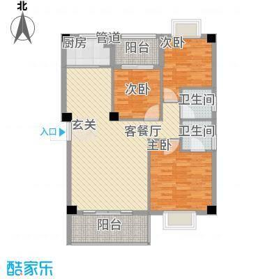 紫金家园13.12㎡2#楼2、3梯02户型3室2厅2卫1厨