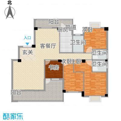 紫金家园176.80㎡1#楼2梯02户型4室2厅3卫1厨
