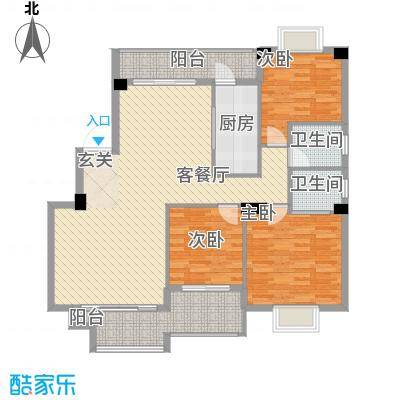 紫金家园132.23㎡3#楼1、2梯02户型3室2厅2卫1厨