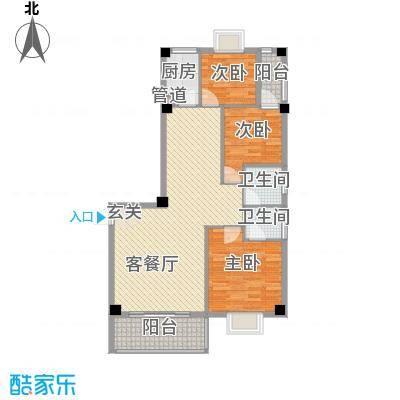 紫金家园1.12㎡2#楼2、3梯02户型3室2厅2卫1厨
