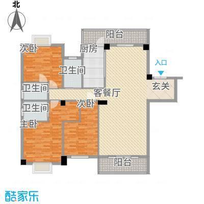 紫金家园175.54㎡1#楼2梯01户型3室2厅3卫1厨