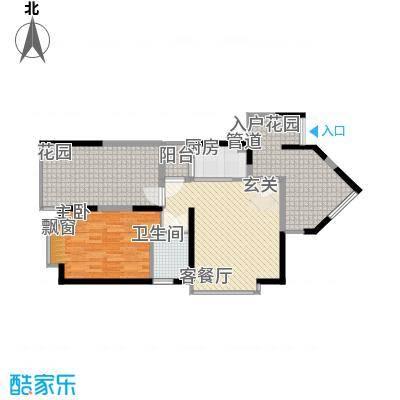禹洲领海5、6#楼2-32层标准层03单元户型2室1厅1卫1厨