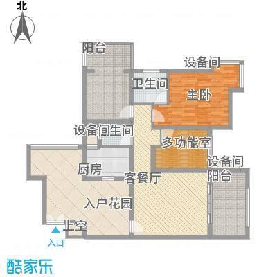 禹洲领海15.87㎡8号楼4-32层偶数层03单元户型1室1厅2卫1厨