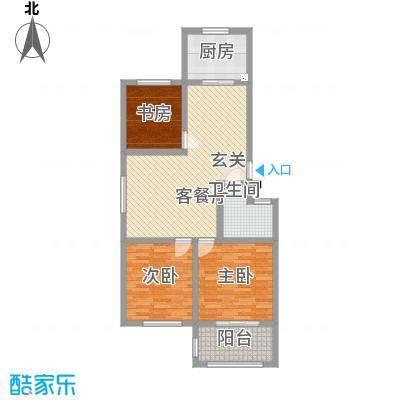 一品名郡17.72㎡三期3#楼E户型3室2厅1卫1厨