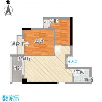 泉舜滨海上城51.10㎡4号楼b户型2室1厅1卫1厨