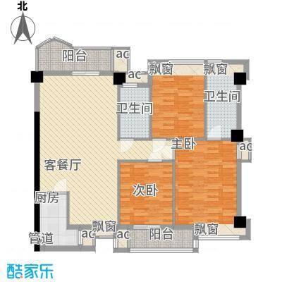 泉舜滨海上城128.35㎡3号楼f户型3室2厅2卫1厨