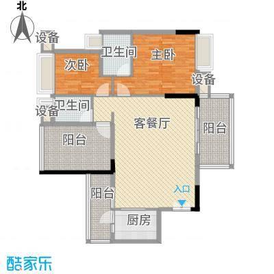 水岸珑庭122.51㎡11座01、02单元户型3室2厅2卫1厨