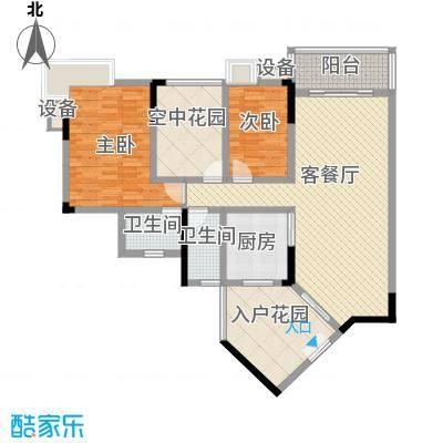 水岸珑庭12.60㎡12座02单元户型3室2厅2卫1厨