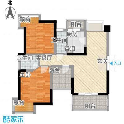中央豪庭B1户型2室2厅1卫1厨