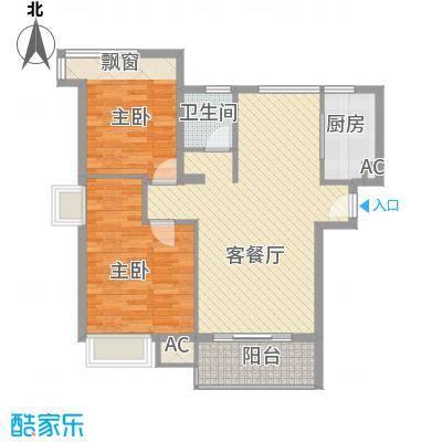 泉舜泉水湾88.10㎡5#楼5层E单元户型2室2厅1卫1厨