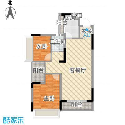万科劲嘉金域华府86.00㎡A16栋1、2单元2、3号房户型2室2厅1卫1厨