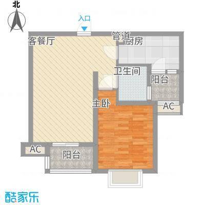 中国铁建未来城64.00㎡7#楼J户型1室2厅1卫1厨