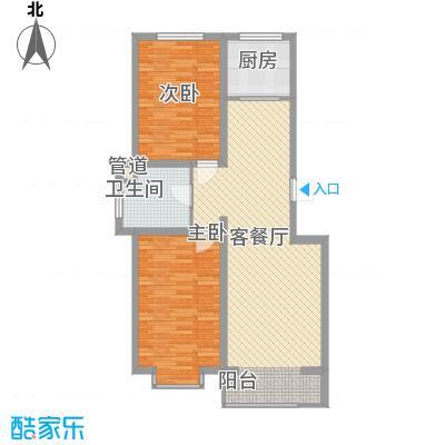 西城阳光1.43㎡D户型2室2厅1卫1厨