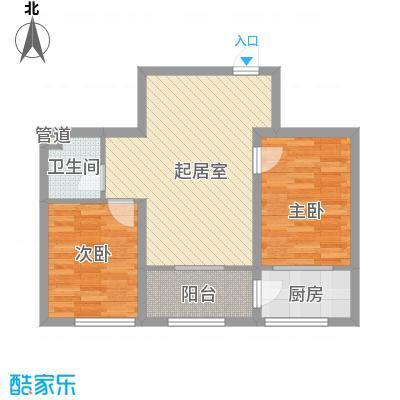 时代庄园6.80㎡D户型2室2厅1卫1厨