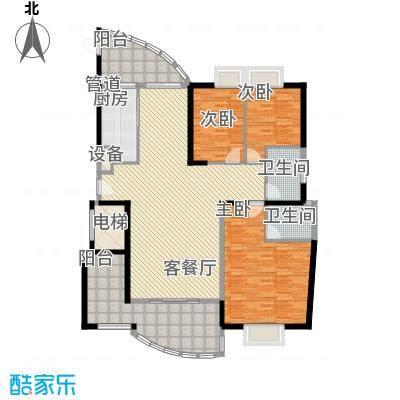 瑞景公园163.00㎡12#楼标准层-B户型3室2厅2卫1厨
