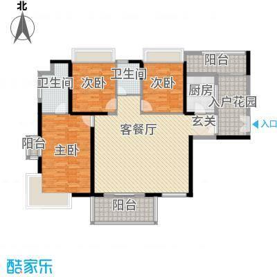 海峡国际社区166.00㎡8号楼标准层01户型3室2厅2卫1厨