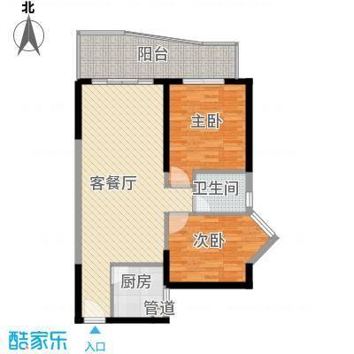 禹洲世纪海湾5.00㎡C/F型户型2室2厅1卫1厨