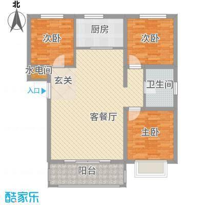 百居茗苑8.80㎡A户型3室2厅1卫1厨