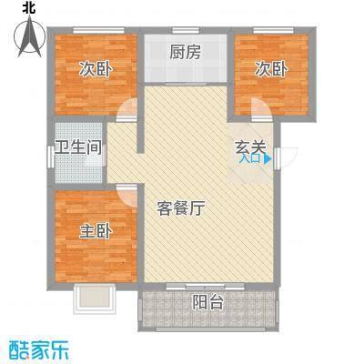 百居茗苑B户型3室2厅1卫1厨