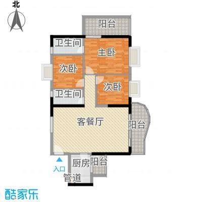 禹洲世纪海湾121.58㎡C型户型3室2厅2卫1厨