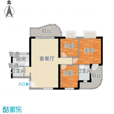 禹洲世纪海湾115.00㎡D型户型3室2厅2卫1厨